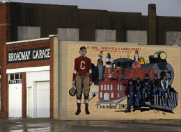 The image of a larger than life Jim Thorpe is part of a mural in downtown Prague, Oklahoma.