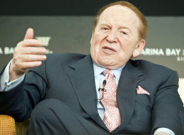 Sheldon Adelson, chairman and chief executive officer of Las Vegas Sands Corp., speaks during a news conference at the opening of the company's Marina Bay Sands Resort & Casino in Singapore, in 2010. (Charles Pertwee/Bloomberg via Getty Images)