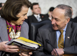 Sen. Dianne Feinstein (D-Calif.) and Sen. Chuck Schumer (D-N.Y.) talk before the start of a Senate Judiciary Committee hearing on Wednesday, Jan. 30, 2013. (Photo By Bill Clark/CQ Roll Call)