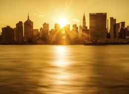 New York City Skyline at sunset. United States.