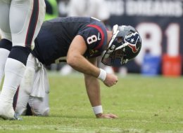 Matt Schaub (8) of the Houston Texans reacts after throwing an interception that was returned for a touchdown by the Seattle Seahawks in the second half of a 23-20 overtime loss to the Seattle Seahawks on Sunday, September 29, 2013, in Houston, Texas. (George Bridges/MCT via Getty Images)