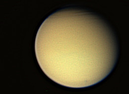 This view of Titan, the largest of Saturn's 56 known moons, was taken on 26 December 2005
