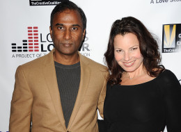 Fran Drescher and 'email inventor' Shiva Ayyadurai are dating. Here, they attend the premiere of 'Bridegroom' at AMPAS Samuel Goldwyn Theater on October 15 in Beverly Hills. (Jason LaVeris/FilmMagic)