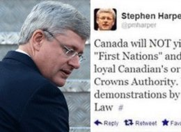 The office of Prime Minister Stephen Harper says it has again fallen victim to an online hoax. (CP/Twitter)