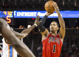 Derrick Rose # 1 of the Chicago Bulls shoots against the Oklahoma City Thunder during the NBA preseason game on October 23, 2013 at the Intrust Bank Arena in Wichita, Kansas. (Photo by Shane Bevel/NBAE via Getty Images)