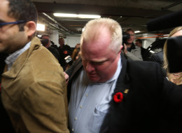 TORONTO, ON- NOVEMBER 3  -  Toronto Mayor Rob Ford leaves CFRB News Talk 1010 after making a vague apology   in Toronto. November 3, 2013.        (Steve Russell/Toronto Star via Getty Images)