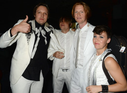 NEW YORK, NY - NOVEMBER 03:  Win Butler, William Butler, Richard Parry and Sarah Neufeld of Arcade Fire pose backstage at the YouTube Music Awards 2013 on November 3, 2013 in New York City.  (Photo by Jeff Kravitz/FilmMagic for YouTube)