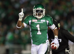 Runningback Kory Sheets #1 of the Saskatchewan Roughriders celebrates a touchdown against the Hamilton Tiger-Cats in the second quarter during the 101st Grey Cup Championship Game at Mosaic Stadium on November 24, 2013 in Regina, Canada.
