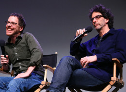 NEW YORK, NY - NOVEMBER 25:  (L-R)  Ethan Coen and Joel Coen speak during Meet The Filmmakers: 'Inside Llewyn Davis' at the Apple Store Soho on November 25, 2013 in New York City.  (Photo by Astrid Stawiarz/Getty Images)