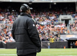 Head coach Mike Tomlin of the Pittsburgh Steelers watches the action from the sideline during a game against the Cleveland Browns on November 24, 2013 at FirstEnergy Stadium in Cleveland, Ohio.