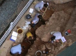 Archeologists excavate Neanderthal levels at Riparo Bombrini in northwest Italy.