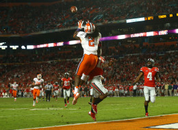 Sammy Watkins #2 of the Clemson Tigers catches a touchdown in the third quarter against Doran Grant #12 of the Ohio State Buckeyes during the Discover Orange Bowl at Sun Life Stadium on January 3, 2014 in Miami Gardens, Florida.  (Photo by Streeter Lecka/Getty Images)