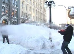 Pew, pew, pew! This is what a water gun fight looks like in -30 weather.