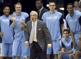 North Carolina coach Roy Williams reacts to a defensive stop by the Tar Heels during the second half against the UNCW Seahawks at the Smith Center in Chapel Hill, N.C., on Tuesday, Dec. 31, 2013. (Robert Willett/Raleigh News & Observer/MCT via Getty Images)