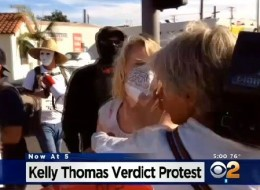 A screenshot of CBS footage from the protest.