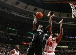 Gorgui Dieng #5 of the Minnesota Timberwolves shoots against Nazr Mohammed #48 of the Chicago Bulls on January 27, 2014 at the United Center in Chicago, Illinois. (Photo by David Sherman/NBAE via Getty Images)