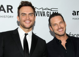 Cheyenne Jackson and Jason Landau are engaged! Here, they attend the 2013 amfAR Inspiration Gala Los Angeles at Milk Studios on Dec. 12, 2013 in L.A. (Mike Windle/Getty Images)