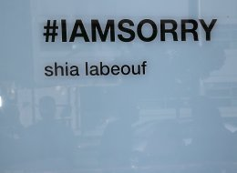 LOS ANGELES, CA - FEBRUARY 12:  Signage for actor Shia LaBeouf's #IAmSorry art installation is seen on February 12, 2014 in Los Angeles, California.  (Photo by David Livingston/Getty Images)