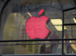 The logo on the Apple store in Regent Street, London, turned red for the 25th World AIDS Day.