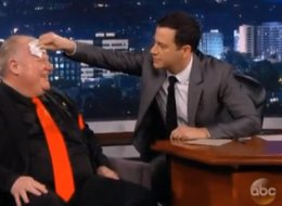 Jimmy Kimmel helps wipe sweat off Toronto Mayor Rob Ford's brow on Monday during taping of the late night talk show.