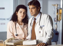 Julianna Margulies and George Clooney on the set of