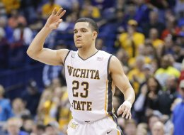 Wichita State's Fred VanVleet signals a three-pointer in the second half of the Missouri Valley Conference tournament championship game. Wichita State Shockers defeated the Indiana State Sycamores, 83-69, in St. Louis on Sunday, March 9, 2014. (Travis Heying/Wichita Eagle/MCT via Getty Images)