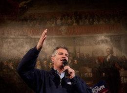 Then-Sen. Scott Brown speaks to the crowd during a rally at Faneuil Hall in Boston on Nov. 4, 2012. (Photo by Kayana Szymczak for The Boston Globe via Getty Images)