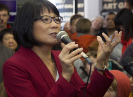 Mayoral candidate Olivia Chow addresses supporters at her newly opened campaign office on April 6, 2014. (Chris So/Toronto Star via Getty Images)