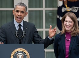 US President Barack Obama names Sylvia Mathews Burwell (R), his current budget director, to replace Heath and Human Services Secretary Kathleen Sebelius (L) in the Rose Garden at the White House in Washington on April 11, 2014. Sebelius resigned, paying the price for the chaotic initial rollout of the US president's signature health care law.    AFP PHOTO/Nicholas KAMM        (Photo credit should read NICHOLAS KAMM/AFP/Getty Images)