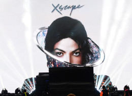 LOS ANGELES, CA - MAY 01:  An image of the late singer Michael Jackson appears onstage during the 2014 iHeartRadio Music Awards held at The Shrine Auditorium on May 1, 2014 in Los Angeles, California. iHeartRadio Music Awards are being broadcast live on NBC.  (Photo by Kevin Mazur/Getty Images for Clear Channel)