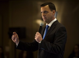 Ontario PC Leader Tim Hudak delivers a speech while campaigning in Toronto, Ont. on Wednesday, May 14, 2014. THE CANADIAN PRESS/Darren Calabrese