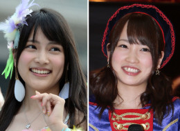 Anna Iriyama, left, a member of the Japanese girls' pop group AKB48, and her teammate Rina Kawaei, were reportedly attacked by a 24-year-old man with a saw during the group's handshake event with fans in Takizawa city in Iwate prefecture. A male staff was also injured. (Photo by Getty Images)