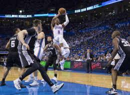 Russell Westbrook #0 of the Oklahoma City Thunder shoots the ball against the San Antonio Spurs in Game 4 of the Western Conference Finals during the 2014 NBA Playoffs at the Chesapeake Arena on May 27, 2014 in Oklahoma City, Oklahoma. NOTE TO USER:  User expressly acknowledges and agrees that, by downloading and/or using this photograph, user is consenting to the terms and conditions of the Getty Images License Agreement. Mandatory Copyright Notice:  Copyright 2014 NBAE (Photo by Richard Rowe/N