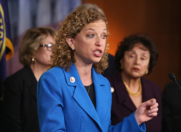 U.S. Rep. Debbie Wasserman Schultz (D-FL) speaks while flanked by colleagues on Capitol Hill in Washington. (Photo by Mark Wilson/Getty Images)