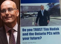 An Ontario Liberal MPP has apologized to Tim Hudak for distributing flyers showing the PC leader laughing as a hospital explodes behind him. (CP/Twitter)