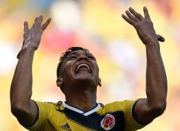 Teo Gutiérrez festeja el segundo gol de Colombia ante Grecia