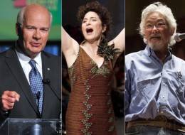 Left to right: CBC personalities Peter Mansbridge, Anna Maria Tremonti, David Suzuki. Mansbridge, Suzuki and Linden MacIntyre are speaking out against a CBC proposal to shut down in-house production of documentaries at the public broadcaster.