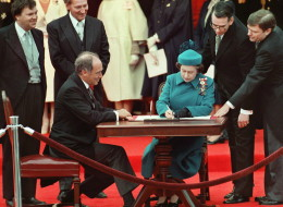 The Queen signs Canada's constitutional proclamation in Ottawa on April 17, 1982 as Prime Minister Pierre Trudeau looks on. With the stroke of a pen by the Queen in Ottawa, Canada had its own Constitution, one of the many notable dates in the history of the country. Canada marks its 147th birthday July 1. THE CANADIAN PRESS/Ron Poling