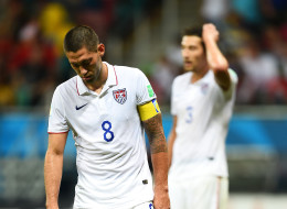 Clint Dempsey of the United States looks dejected during the 2014 FIFA World Cup Brazil Round of 16 match between Belgium and the United States at Arena Fonte Nova on July 1, 2014 in Salvador, Brazil.  (Photo by Laurence Griffiths/Getty Images)