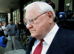 CHICAGO - APRIL 17:  Former Illinois Governor George Ryan leaves the federal courthouse following a verdict of guilty on all counts in his corruption trial April 17, 2006 in Chicago, Illinois. This new jury deliberated for ten days before handing down the verdict. Two previous jurors were removed from the trial during the deliberation process for lying on their jury applications causing deliberations to start over.  (Photo by Tim Boyle/Getty Images)