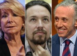Esperanza Aguirre, Pablo Iglesias y Eduardo Inda.