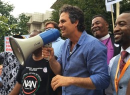 Actor Mark Ruffalo joined in the march/rally
