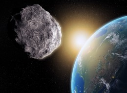 An artist's illustrations shows a near-Earth asteroid.