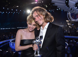 Miley Cyrus and Jesse Helt attend the 2014 MTV Video Music Awards at The Forum on August 24, 2014 in Inglewood, Calif. (Photo by MTV/MTV1415/Getty Images for MTV)