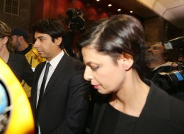 Jian Ghomeshi leaving College Park Court with his Lawyer Marie Henein after Ghomeshi was released on $100,000 bail.