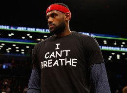 LeBron James wears an 'I Can't Breathe' shirt during warmups before a Dec. 8 game in New York City. (Photo by Al Bello/Getty Images)