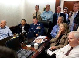 The famous photo of President Barack Obama and Secretary of State Hillary Clinton watching the raid in real-time