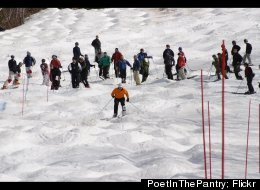 Skiers prepare for the local Bump or Bust competition at Ski Sundown.