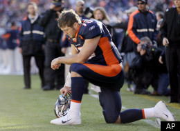Denver Broncos quarterback Tim Tebow (15) prays in the end zone before the start of an NFL football game against the Chicago Bears, Sunday, Dec. 11, 2011, in Denver. (AP Photo/Julie Jacobson)