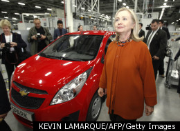 Secretary of State Hillary Clinton visits a General Motors plant in Tashkent during her most recent trip to Uzbekistan.